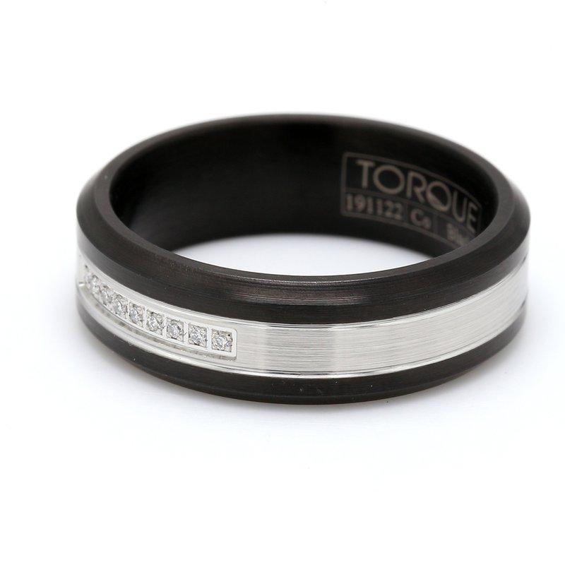 Torque Men's Black Cobalt Diamond Wedding Band