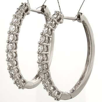 Diamond Hinged Hoop Earrings