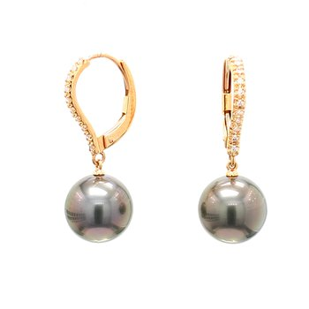 Black South Sea Pearl Dangle Earrings