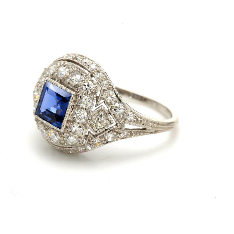 Estate Sapphire Halo Ring