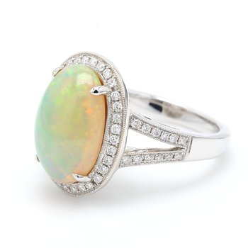 Classic White Opal Ring
