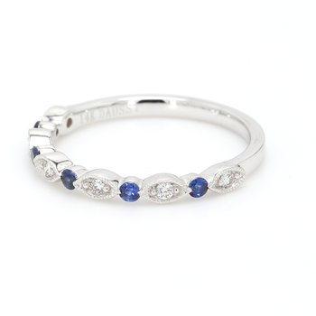 Scalloped Diamond & Sapphire Wedding Band