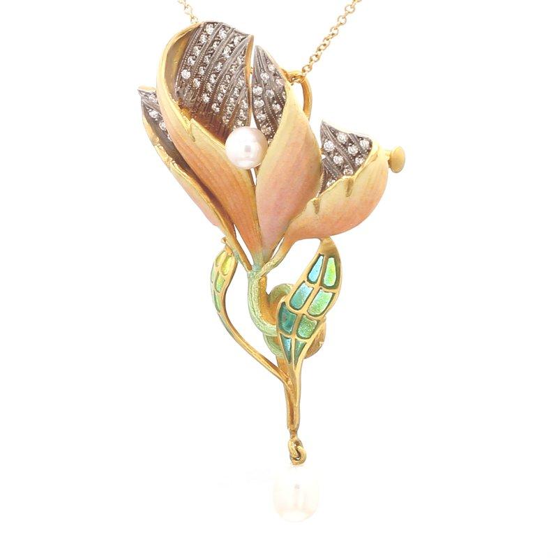 Spicer Greene Diamond Convertible Pendant/Brooch with Enamel