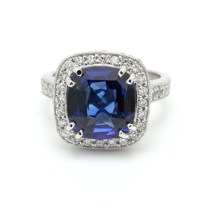 Color by Spicer Greene Halo Sapphire Ring