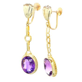 Amethyst Clip On Dangle Earrings