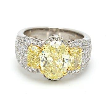 3 Stone Yellow Diamond Ring