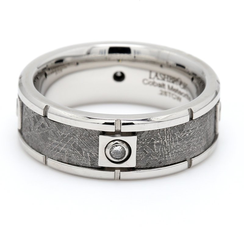 Lashbrook Designs Men's Cobalt, Meteorite & Diamond Wedding Band