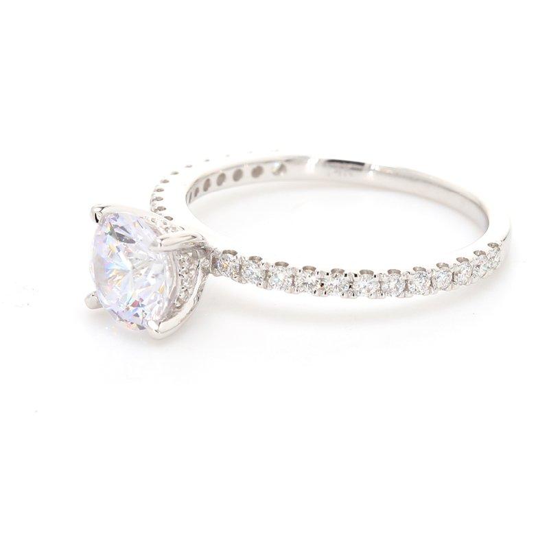 Classique Solitaire with Diamonds Semi Mount Engagement Ring