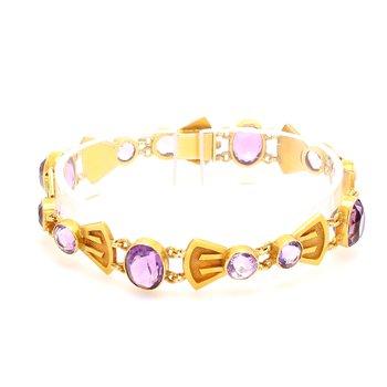 Amethyst Fancy Link Bracelet