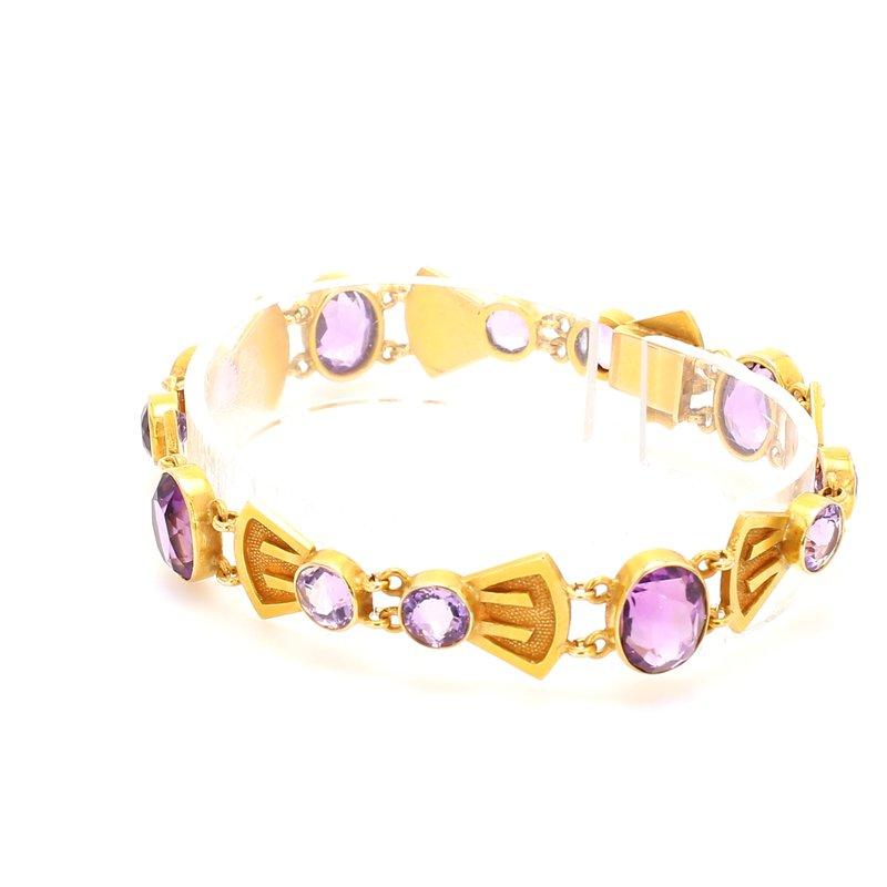 Estate Amethyst Fancy Link Bracelet