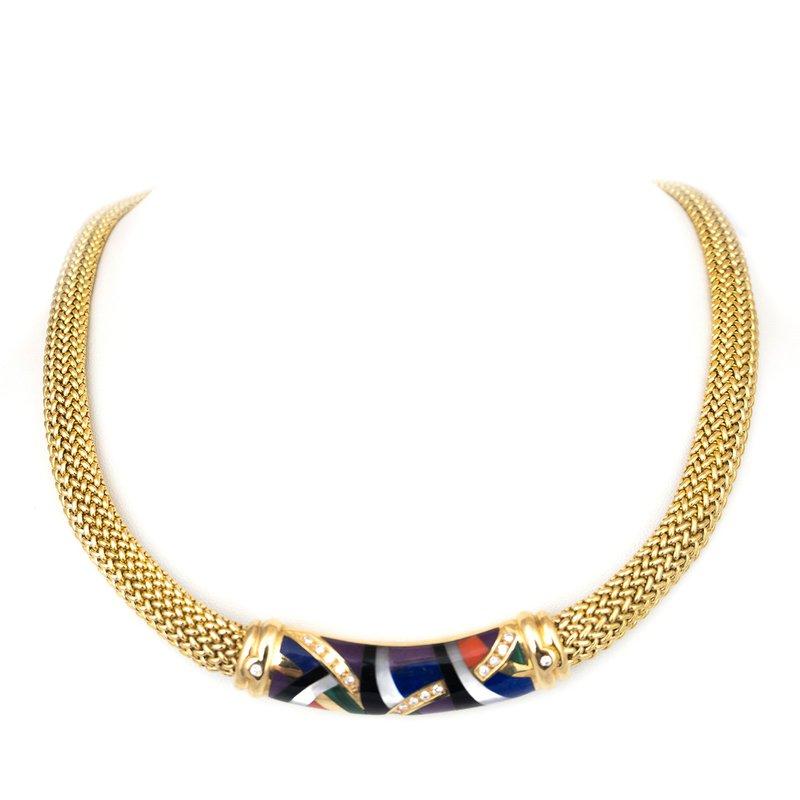 Estate Gemstone Inlay Necklace
