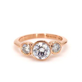Bezel Set 3-Stone Engagement Ring