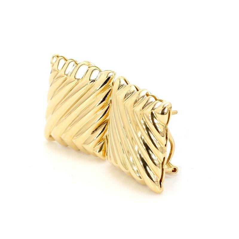Estate Yellow Gold Omega Back Earrings