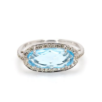Topaz Halo Ring