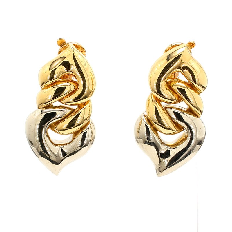 Estate Two-Tone Gold Clip On Earrings