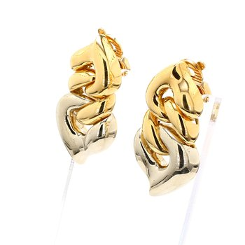 Two-Tone Gold Clip On Earrings