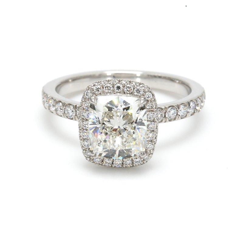 Spicer Greene Cushion Cut Halo Engagement Ring