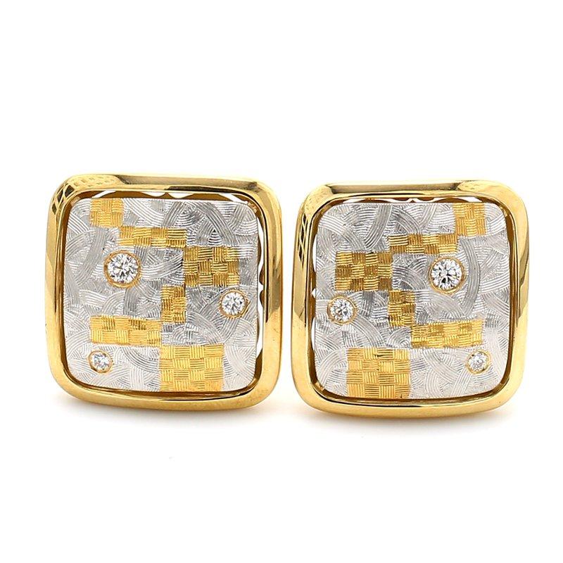 Estate Diamond Clip On Earrings