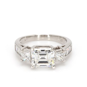 Emerald Cut Solitaire with Diamonds Engagement Ring