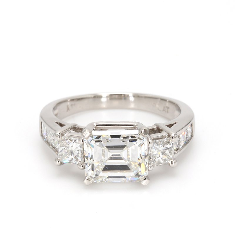 Estate Emerald Cut Solitaire with Diamonds Engagement Ring