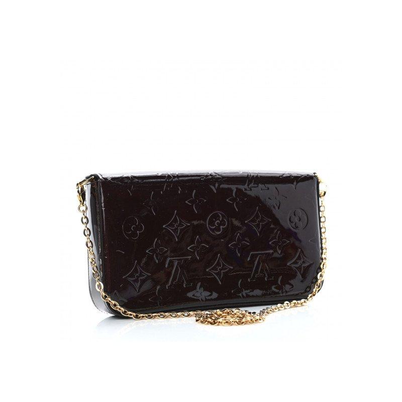 Pre-Owned Luxury Handbags Louis Vuitton Vernis Pochette Felicie Chain Wallet