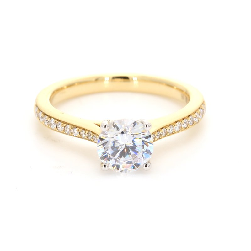 Classique Solitaire with Diamonds Semi Mount Engagement Ring