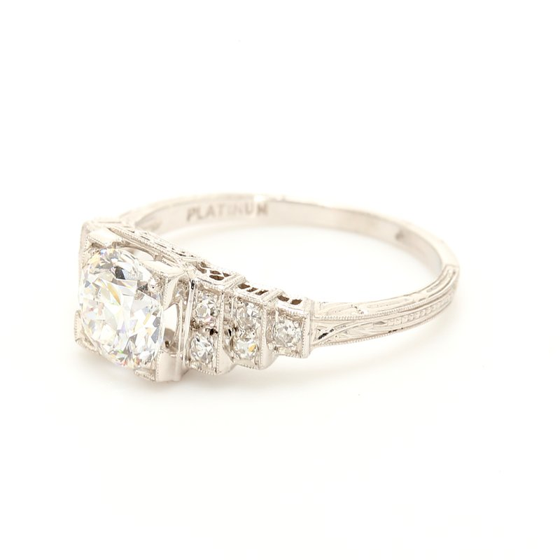 Estate Solitaire with Diamonds Engagement Ring