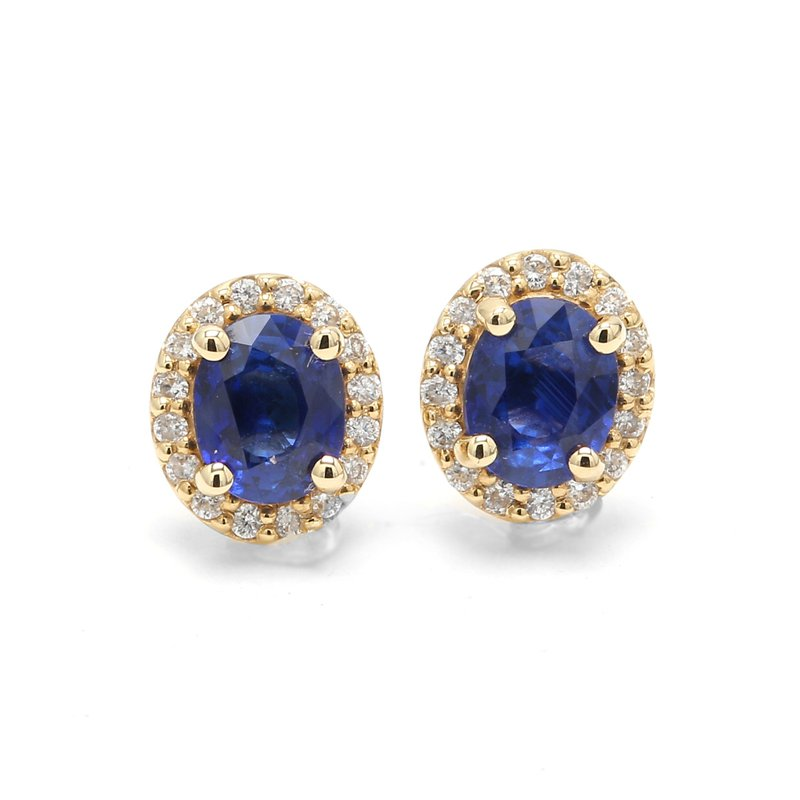 Color by Spicer Greene Sapphire Stud Halo Earrings