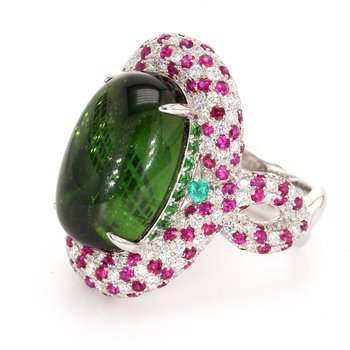 Tourmaline, Ruby and Diamond Ring