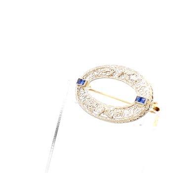 Antique Style Gemstone Pin