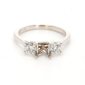 3 Stone Semi Mount Engagement Ring