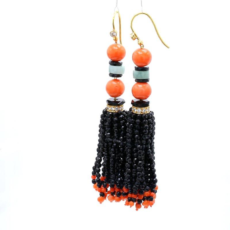 Estate Gemstone Tassel Earrings