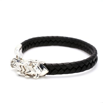Men's Braided Black Leather Le