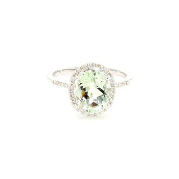 Prasiolite Halo Ring