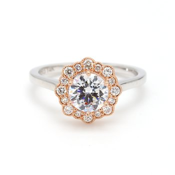 Floral Halo Semi Mount Engagement Ring