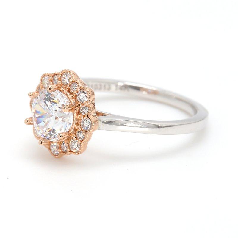 Noam Carver Floral Halo Semi Mount Engagement Ring
