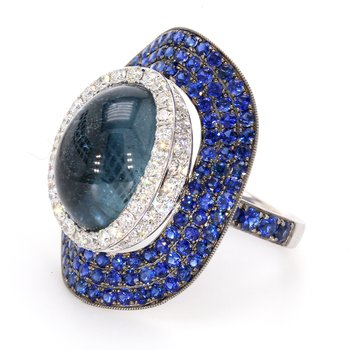 Tourmaline, Sapphire & Diamond Ring