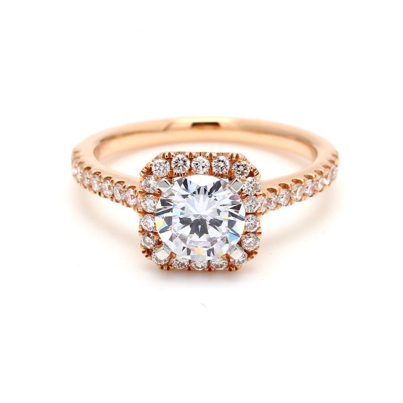 Classique Cushion Halo Semi Mount Engagement Ring