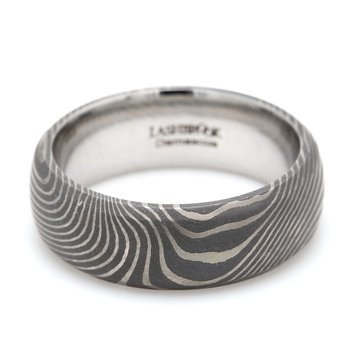 Damascus Steel Flattwist Wedding Band