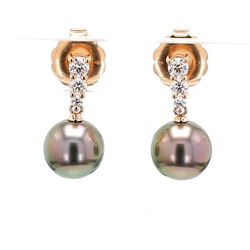 Mikimoto Black South Sea Pearl Dangle Earrings
