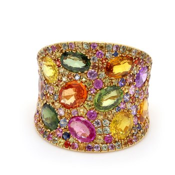 Rainbow Cluster Fashion Ring