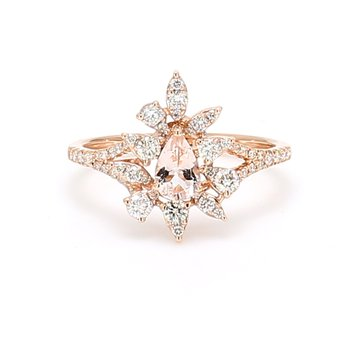 Cluster Morganite Ring