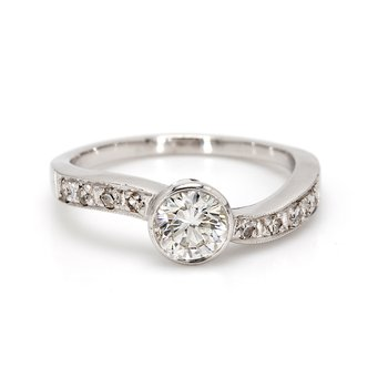 Round Brilliant Cut Solitaire with Diamonds Engagement Ring