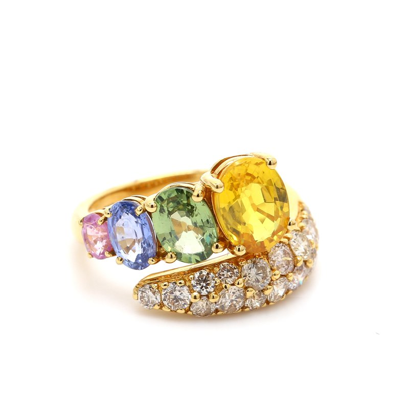 Color by Spicer Greene Rainbow Sapphrie & Diamond Ring