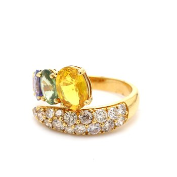 Rainbow Sapphrie & Diamond Ring