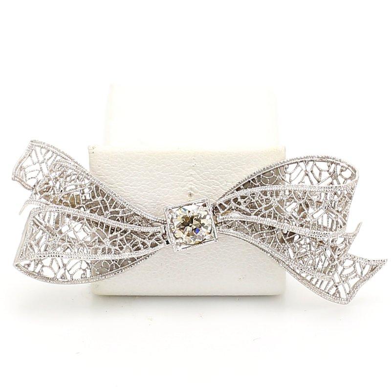 Estate Bow Diamond Pin