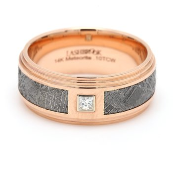 Men's Rose Gold, Meteorite & Diamond Wedding Band