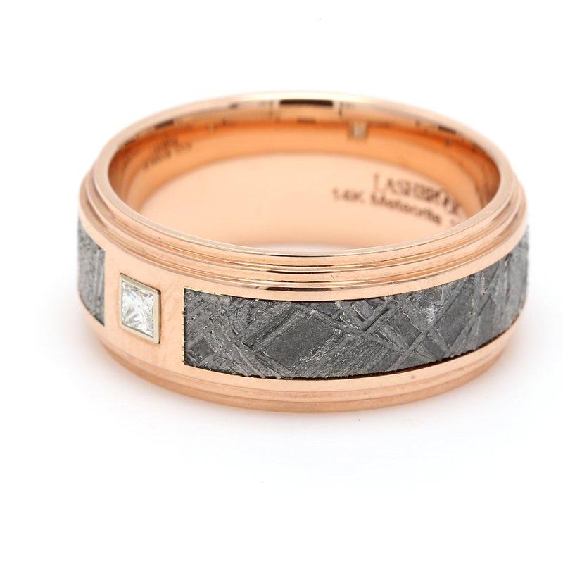 Lashbrook Designs Men's Rose Gold, Meteorite & Diamond Wedding Band