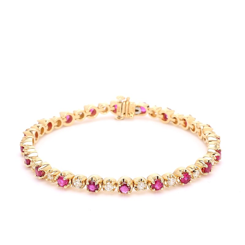 Estate Ruby and Diamond Tennis Bracelet