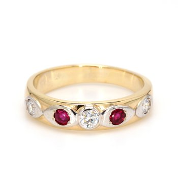 Ruby and Diamond Straight Ring